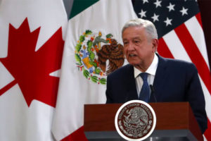 President López Obrador speaks at the signing of an update to the new North American free-trade agreement in Mexico City