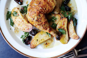 Chicken and potatoes, sheet-pan style.