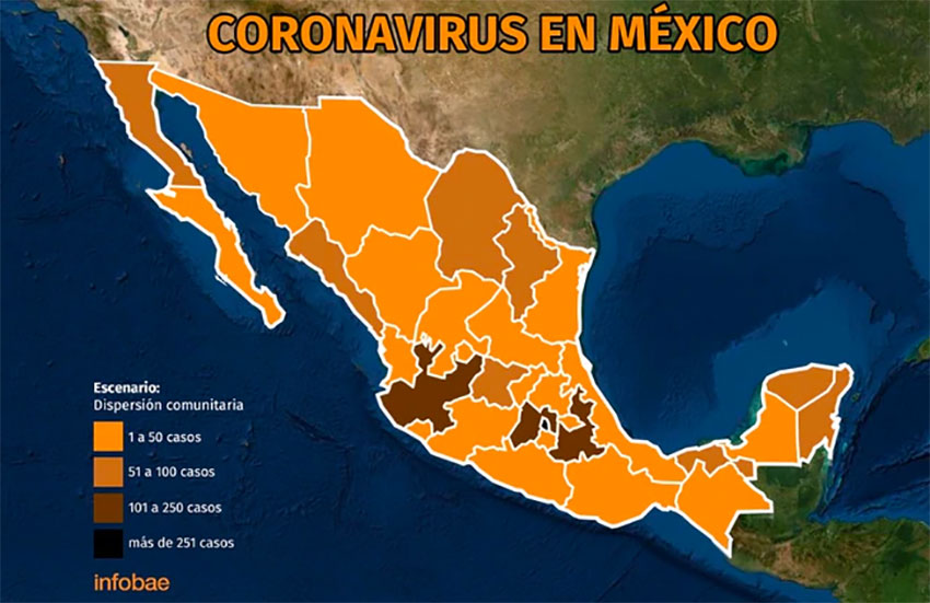 Coronavirus cases in Mexico: the darker the color the more cases.