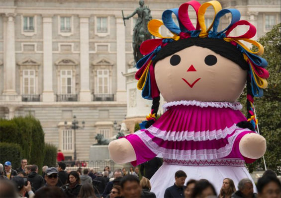 Lele, a giant-sized María doll that has traveled the world to promote Mexican tourism.