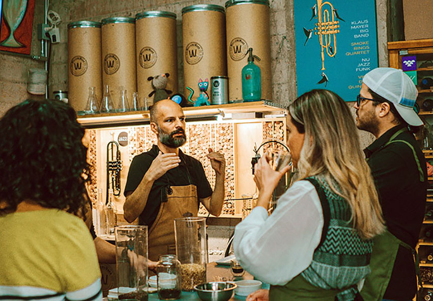 Michael Boudey conducts a beer-experience workshop.