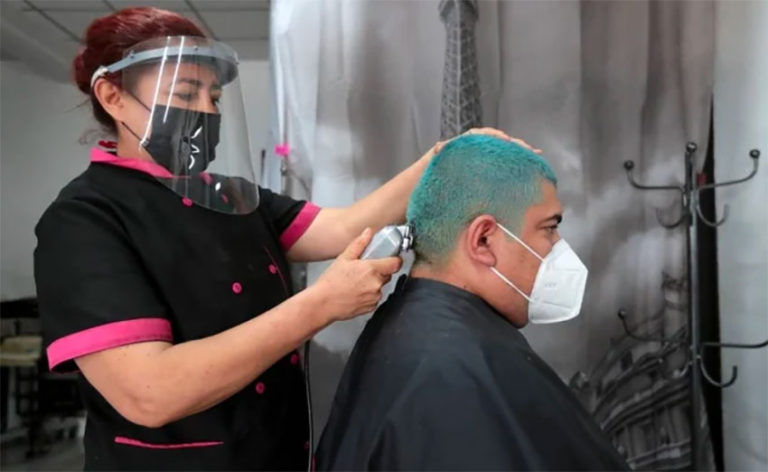"A hair salon in Mexico City in the ""new normal""."