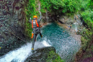A waterfall jumper during a Tribu Wounaan excursion at the Oro River earlier this week.