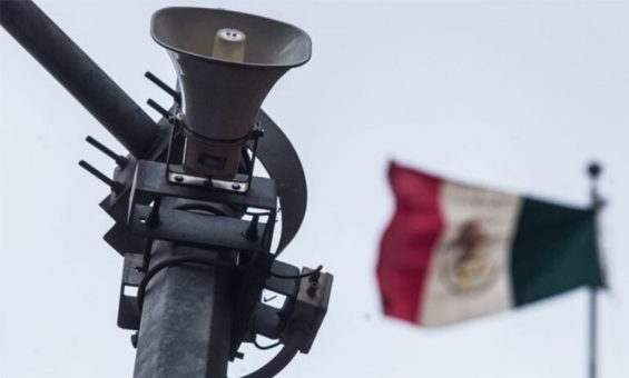One of thousands of speakers that emit earthquake alarms in Mexico City.